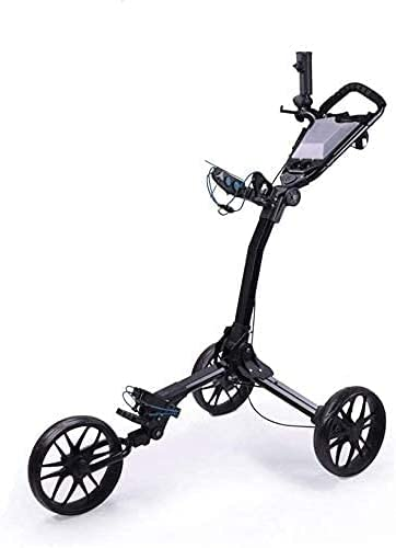 TUHFG Golf Push Cart Trolley Golf Lightweight Foldable Golf Golf Push Cart with Umbrella Tube Fixed Mobile Phone Holder Score Board and Scorecard 3 Wheel Push Pull Golf Cart