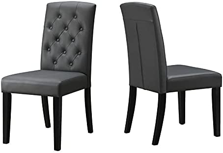"""Bella Esprit 39"""" Tufted Upholstered Parson Dining Chairs in Gray (Set of 2)"""