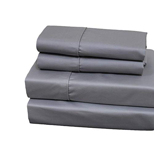 sheetsnthings Solid 650 Thread Count, Cotton Blend, Top Split California King Sheets Sets for Adjustable Beds (Grey) 4PC Bed ()