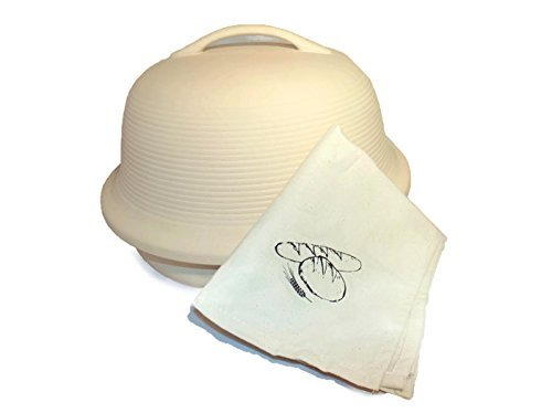 SuperStone La Cloche Baker with Specialty Bread Cloth- stone bake ware for breads, fish and meats