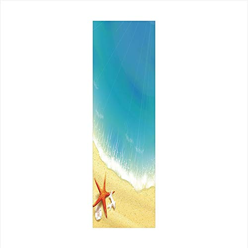 Decorative Window Film,No Glue Frosted Privacy Film,Stained Glass Door Film,Seashore View Waves on Sandy Beach Caribbean Paradise Summer Illustration,for Home & Office,23.6In. by 78.7In Multicolor ()