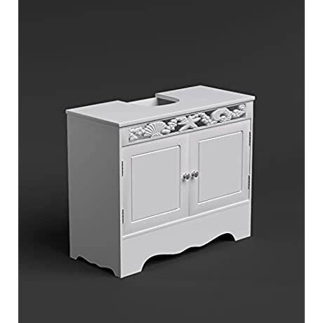White Bathroom Under Basin Storage Unit 2 Door Wooden Cupboard Coral By Coral