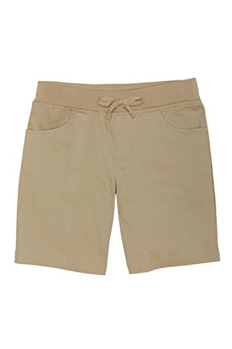 - French Toast Big Girls' Stretch Pull-on Tie Front Short, Khaki, 8