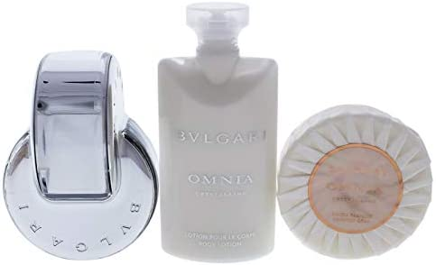 Bvlgari Omnia Crystalline Coffret Eau de Toilette Spray 65 ml + Soap 75 g/2,6 oz + Loción corporal 75 ml + Neceser 3 piezas + 1 estuche escolar: Amazon.es: Belleza