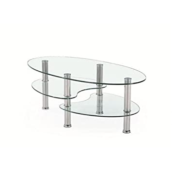 Harvey Coffee Table In Clear Glass With Chrome Legs Amazon