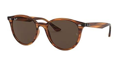 RAY-BAN RB4305F Round Asian Fit Sunglasses, Striped Red Havana/Dark Brown, 53 mm