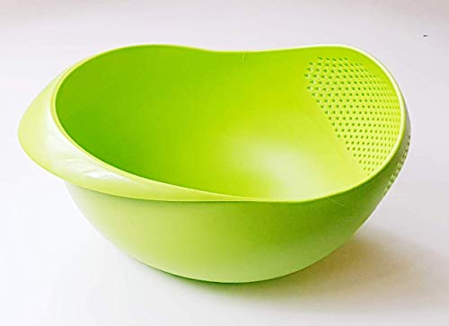 - Large Colander Strainer Rice Washing Bowl Rice Washer Strainer Vegetable Drainer Food and Fruit, Pasta Washer Green (Large)