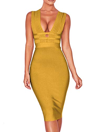 Whoinshop Women 'S Sexy Deep V Plunge Sleeveless Cut Out Bodycon Bandage Cocktial Party Dresses (M, Ginger)