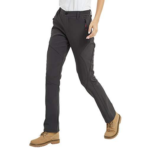 JOMLUN Women's Outdoor Windproof Waterproof Hiking Mountain Ski Pants Soft Shell Fleece Lined Trouser Gray