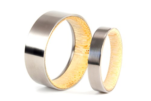 Set of two bamboo & titanium wedding bands. Water resistant, very durable and hypoallergenic. (02801_7N_02802_4N)