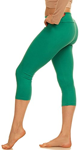- Lush Moda Extra Soft Capri Leggings - Variety of Colors - Yoga Waist - Green
