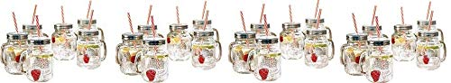 Estilo Mason Jar Mugs with Handle and Straws Old Fashioned Drinking Glass Set 6, 16 oz Each (4-(Pack))