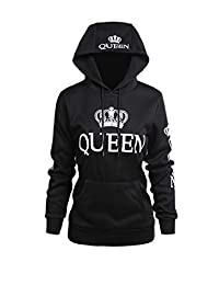 Jumojufol Womens Couple Sweatshirt Casual King Queen Pullover Hoodie