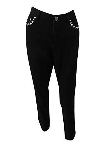 - MICHAEL Michael Kors Womens Izzy Studded Classic Rise Skinny Jeans Black 8