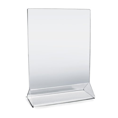 "New Star Foodservice 23008 Commercial Acrylic Table Sign Holder, 5"" x 7"" Inch, Set of 12, Clear"