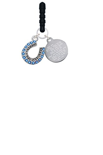 (Delight Jewelry Beaded Blue Crystal Horseshoe with Good Luck Stronger Braver Smarter Phone Charm)