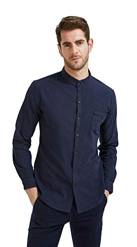 Plaid&Plain Men's Slim Fit Long Sleeve Banded Collar Solid Linen Shirts D-Blue M