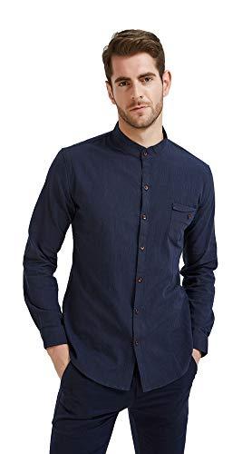 Plaid&Plain Men's Slim Fit Long Sleeve Banded Collar Solid Linen Shirts D-Blue M (Korean Style Standing Collar)