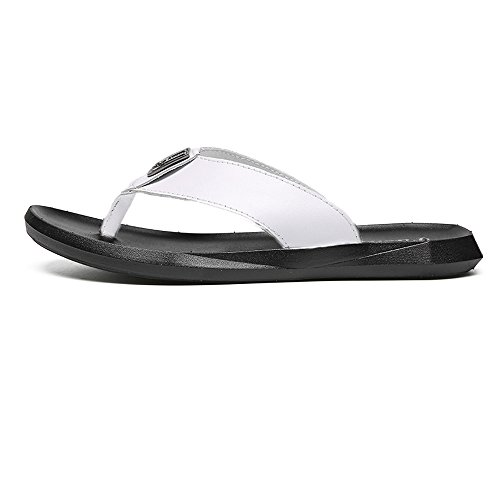 Easy Go Shopping Men's Casual Flip Flops Shoes PU Leather Beach Slippers Non-Slip Soft Flat Sandals,Flip Flop Sandals for Men White