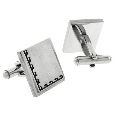 Stainless Steel Silver-Tone Satin Finish Greek Key Square Cufflinks