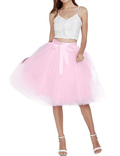 Women's Solid A Line Midi/Knee Length Tutu Skirt 6 Layered Pleated Tulle Petticoat Dance Tutu(Pink)]()