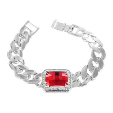 Red Ruby Solitaire Bracelet White Gold Tone Miami Cuban Designer Lab Diamond Hot