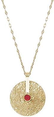 Zag Bijoux - Collar con colgante de rueda de piedra coral (dorado)