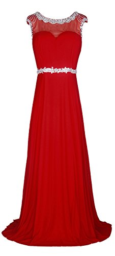 Licoco Women Sleeveless Beaded Semi-Formal Long Maxi Evening Gown Wedding Dress (red57,Medium)
