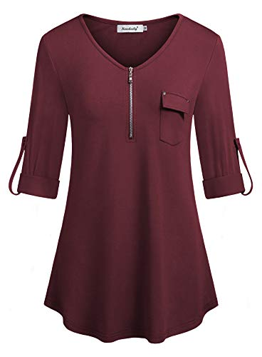 Long Sleeve Blouse, Ninedaily Ladies Polo Shirts Boat Neck Flare Knits & Tees Novelty Uniforms Apparel A line Tunic Elbow Length Weekend Friday Church Womens Tops,Wine,Size M by Ninedaily