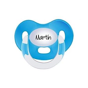 Boann L/átex 0-6 meses, Azul marino Chupete personalizado con nombre Colores fuertes