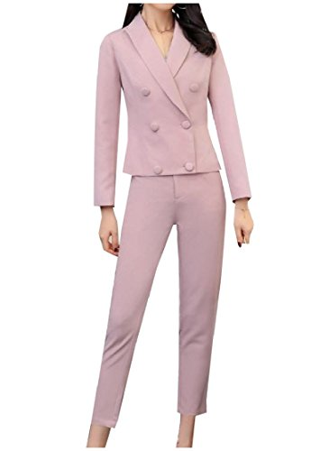 Wholesale Comfy-Women Custom Fit Solid Blazer Jacket Tapered Trousers Two Piece