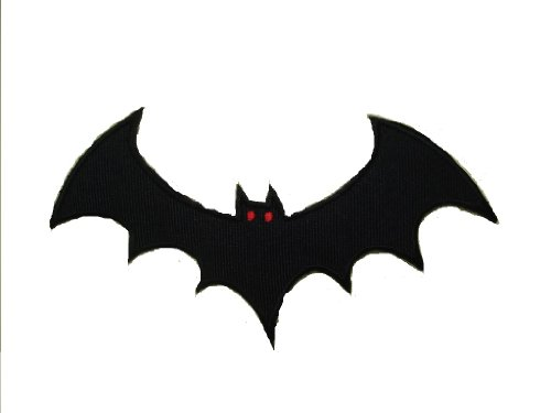 Black BAT Iron On Patch * Lot of 2 pieces * Fabric Motif Halloween Applique Decal Approx. 4.7 x 1.7 inches (12 x 4.5 cm)