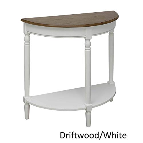 Driftwood White Semi Circle Demilune Table for Small Hallway Entryway Space Wooden Half Moon Sturdy Console Tables