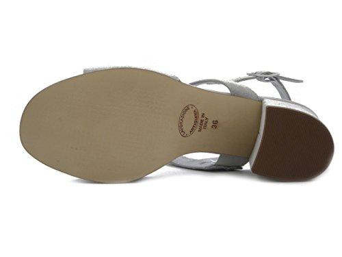 Eleganti 633cg Comfort Camoscio 6 Soft Medio Cinzia Glitter Cm Argento Grigio Donna Con Sandali In Tacco tqptIZ