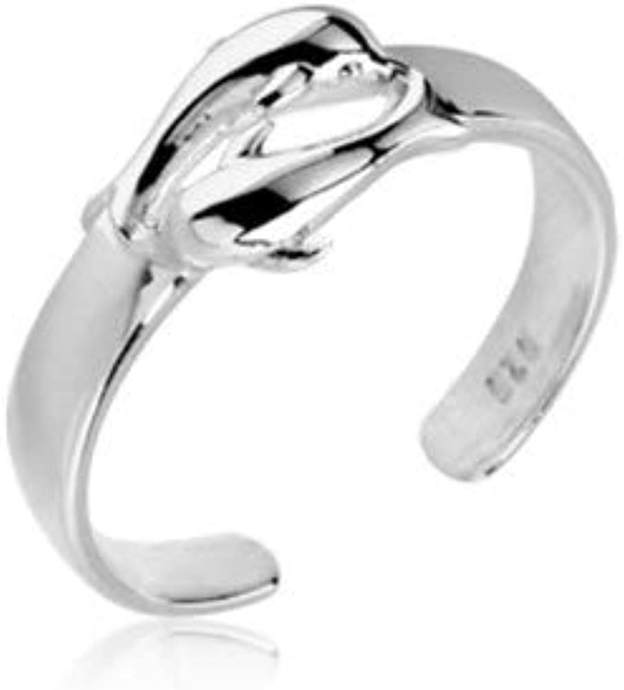 Simplistic Details 2 Dolphins Sterling Silver Dolphin Adjustable Toe Ring Split Shank