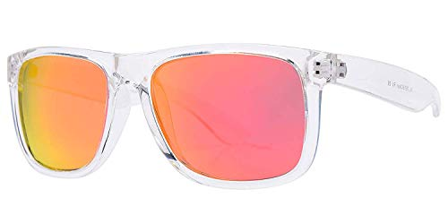 PZ Polarized Sunglasses for Women or Men - UV400 Gradient Color Mirror Lens- Retro Sports Beach (Tranparent+ Fire Red ()