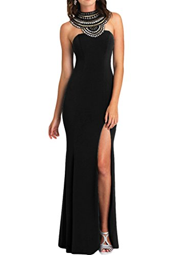 ivyd ressing Mujer de gran calidad brillantes Ranura rueckenfrei gasa Prom vestido fijo para vestido de noche negro