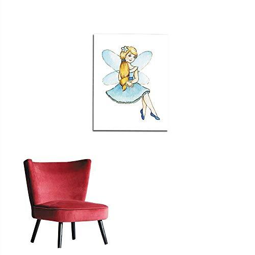 longbuyer Wall Paper Little Cute Magic Fairy Watercolor Illustration Kids Clipart Mural 16