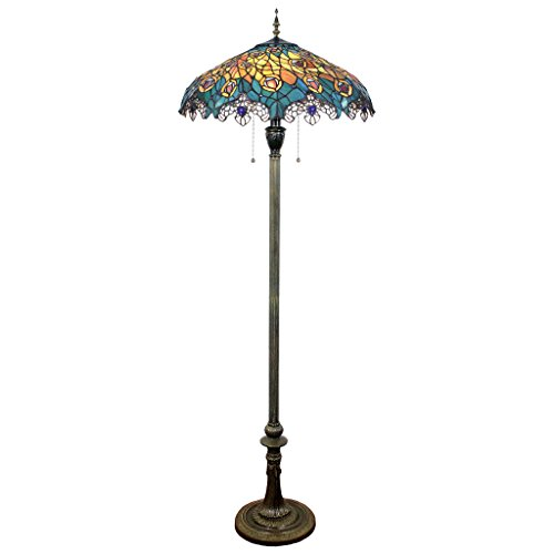 - Design Toscano Art Nouveau Peacock Tiffany Style Stained Glass Floor Lamp, Full Color