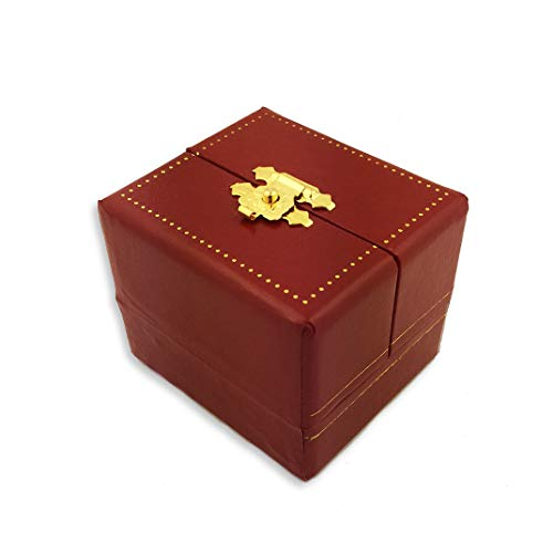 World Faith Jewelry Box Red Box - Cartier Style Red Faux Leather Jewelry Box - Perfect for Crosses Eggs and Etc. 2 Inches Tall