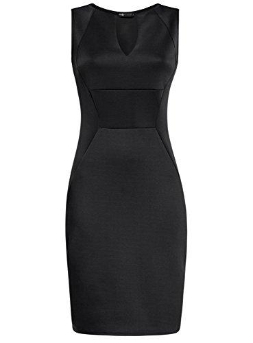 oodji Collection Mujer Vestido de Punto Ajustado Negro (2900N)