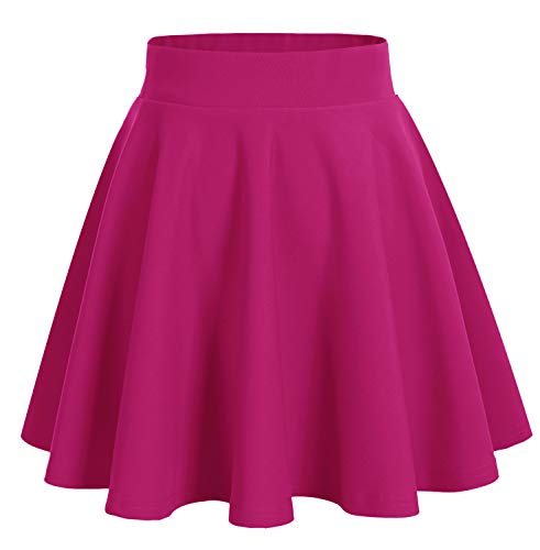bridesmay Damenrock Basic Solid Vielseitige Dehnbaren Informell Minikleid Retro Mini Rock Faltenrock Fuschia XL