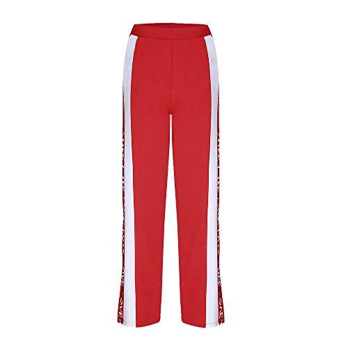 pantaloni Nove Sportivi Vita Da Pantaloni Larghi Ufficio Casual Fit Tagliuzzati Estiva Club Red Alta Donna casual Meibax A Lunghi Slim dnwSqd