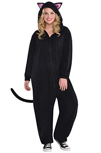 Amscan Zipster Black Cat One Piece Halloween Costume for Women, Plus Size, with Included Accessories ()
