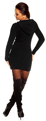 Zeta Ville - Jersey Vestido tipo suéter de punto con capucha - para mujer - 908z Negro