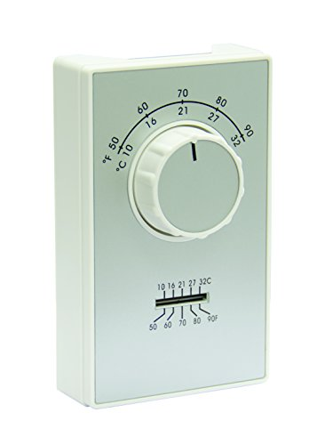 TPI Corporation ETD9STS Line Voltage Wall Mount Thermostat, Single Pole, Heat/Cool, 50-90 Degree Temp Range, Thermometer on Face Plate, Fahrenheit or Celsius, White ()