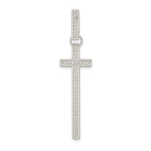 925 Sterling Silver Cubic Zirconia Cz Cross Religious Pendant Charm Necklace Latin Fine Jewelry For Women Gift Set ()