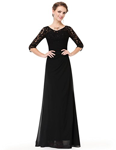 Length Floor 08861 Pretty Black Lace Women's Long Gown Ever Sleeve Evening UYOwqX