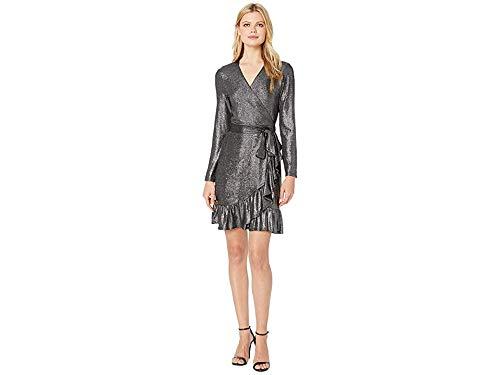 CeCe Women's 3/4 Sleeve Foil Knit Ruffle Wrap Dress Rich Black Small