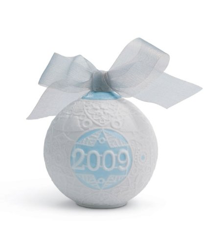 Lladro 2009 Christmas Ball, White with Blue Accent